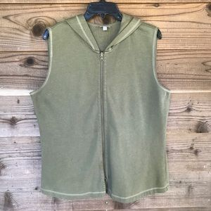 J. Jill Olive Leaf Full Zip Hooded Vest Med Tall